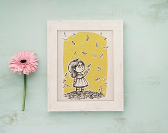 Postcard children illustration, art for kids - Girl with fall leaves, autumn lovers postcard