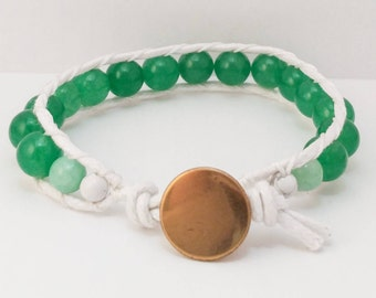 Single Wrap Bracelet/ Green/ White