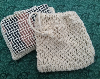Natural Cotton Soap Saver, soap sack, a gently exfoliating soap saver bag for longer lasting bars of soap, soap pouch