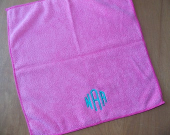 Monogrammed Washcloth Monogrammed Bridesmaids Gift, Teen Gift Microfiber Make Up Removal Cloth Gift for Her Gift for Him Slumber Party Favor