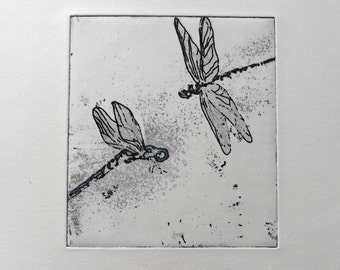 "engraving etching and aquatint, ""flight"" dragonflies on Hahnmuhle paper"
