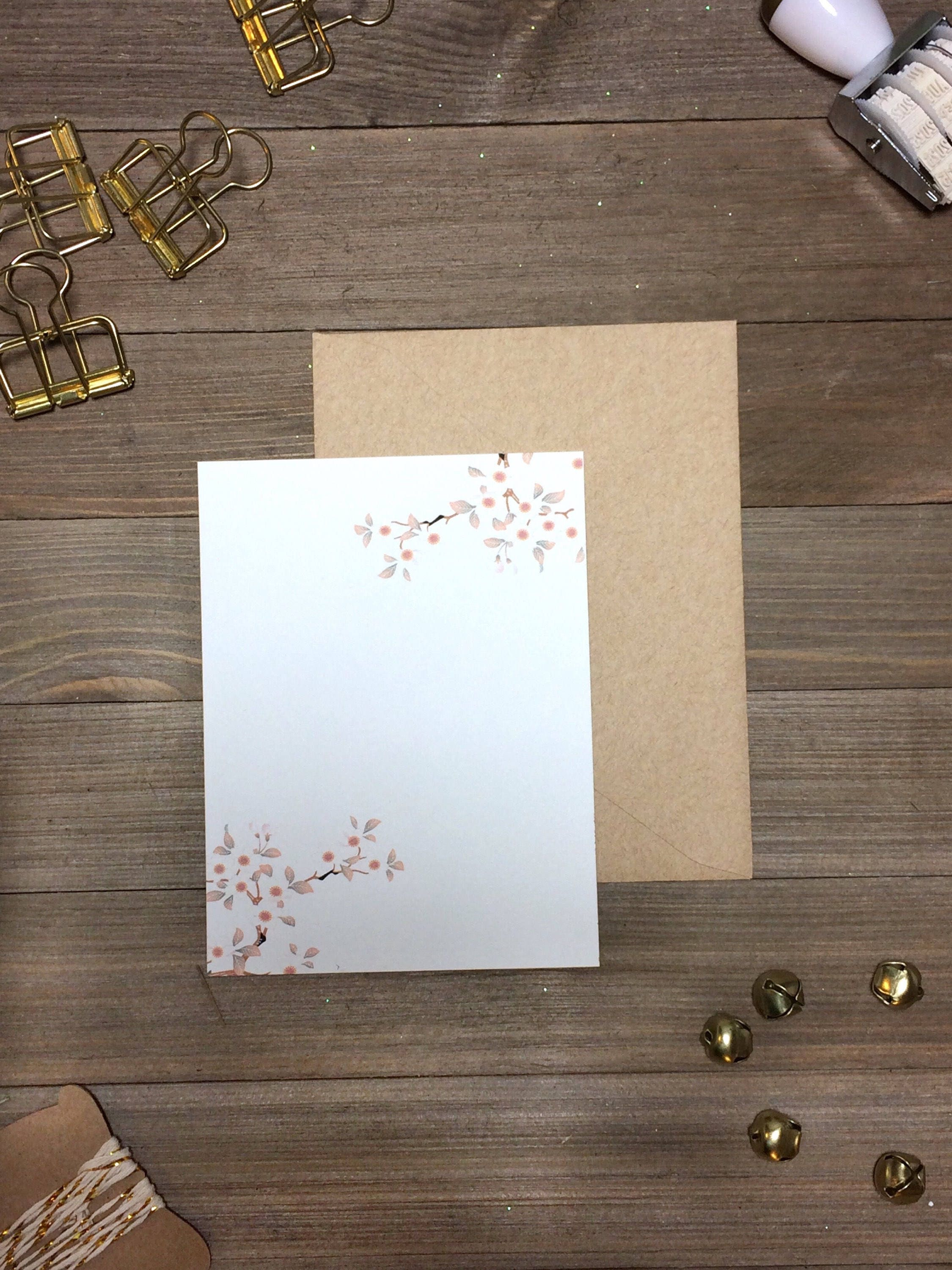 Blank Cherry Blossom Note Cards | Blank Japanese Stationery | Floral ...