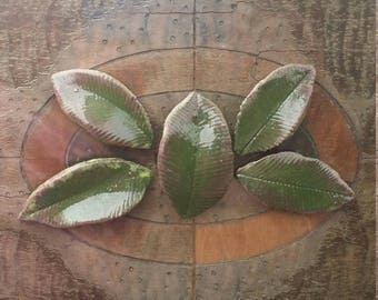 """Ceramic Tile 2.25"""" - 2.75"""" Burgundy Green Leaves Tiles 5 piece Select Handmade Sculpted Leaf Tile for Mosaic, Collage and Assemblage"""