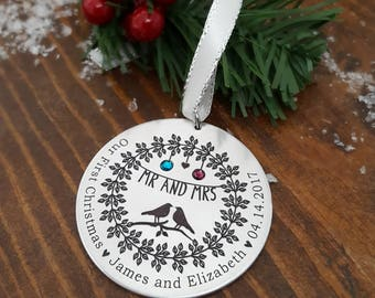 Our First Christmas | Mr. And Mrs. Ornament | Newlywed Ornament | Our First Christmas Ornament | Wedding Gifts | Wedding Ornaments