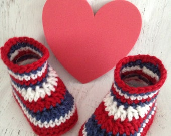 Crochet Baby Booties - Patriotic Red, White and Blue Crocheted Baby Boots - Handmade Baby Gift - 3 - 6 Month Size Ready to Ship