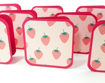 Strawberry Cards, Mini Cards, Blank Mini Cards, 3x3 Cards, Square Cards, Summer Fruit Card, Strawberries Card, Pink Strawberry Tag, Gift Tag