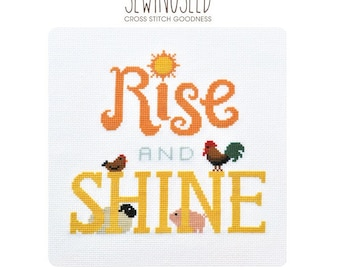 Rise and Shine Cross Stitch Pattern Instant Download, Farm Animals, Rooster, Nursery