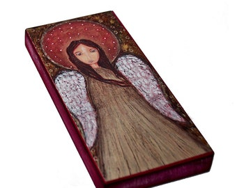 Angel Dorado -  Giclee print mounted on Wood (3 x 6inches) Folk Art  by FLOR LARIOS