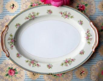 Vintage Noritake Serving Platter Nippon Toki Kaisha Blue Floral