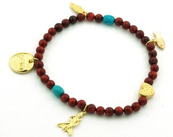 Red Coral and Charms Stretch Anklet for Health