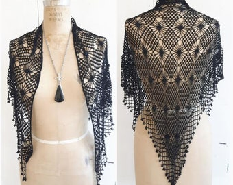 Vintage Beaded Shawl, Beaded wrap, black shawl, black beaded wrap