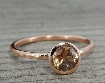 Peach Sapphire Ring - Ethically Sourced Montana Sapphire and Recycled 14k Rose Gold Ring - Fair Trade, Handmade, Hammered, Bezel - size 6.5