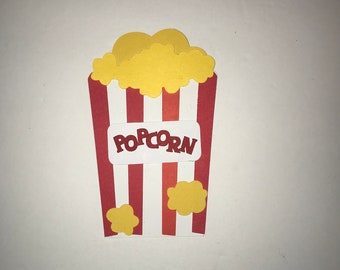 Popcorn red and white paper die cut