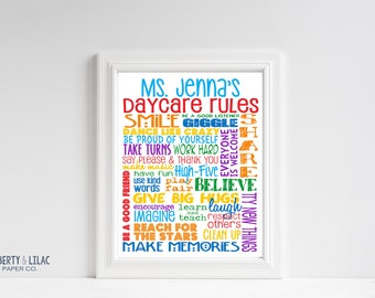 DIGITAL FILE - Daycare Rules – Personalized Sign – Daycare Gifts – Add Teacher's Name – Teacher Gift – Classroom Art – Childcare
