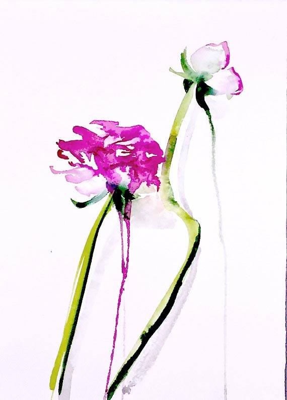 Watercolor painting - Ruffled Ranunculus - original floral watercolor
