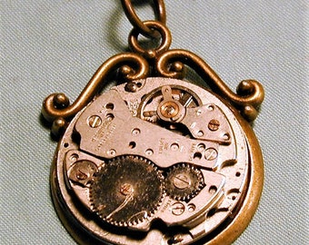 Steampunk Vintage Sears Roebuck Watch Movement Pendant with Chain OOAK #52