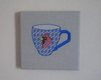 Cardinal Teacup Wall Art. Hand Embroidery.