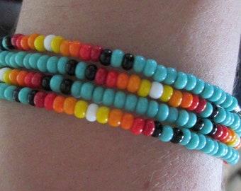 Beaded Memory Wire Bracelet Native Inspired