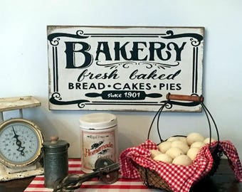 BAKERY fresh baked bread cakes pies wood sign farmhouse fixer upper style