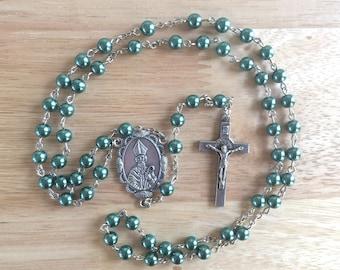 Handmade Catholic Rosary: Irish/St. Patrick with Green Glass Pearl Beads