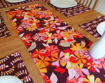 Tropical Table Runner with Birds and Flowers in Eggplant, Aubergine, Floral Centerpiece Runner Linen, Reversible Table Runner, Jenaveve