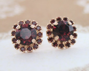 burgundy earrings,burgundy crystal earrings,rose gold earrings,rose gold burgundy earrings,swarovski earrings,stud earrings,burgundy wedding