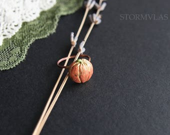 Halloween Jewelry Pumpkin Ring Halloween Ring Orange Autumn Fall Jewelry Adjustable Ring Size Fruit Jewelry Polymer clay Copper