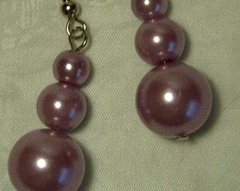 "Cynthia Lynn ""AFTERNOON TEA"" Graduated Pastel Lavender Glass Pearl Drop Earrings 1.5"""