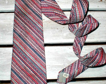 70s Texturized Wide Polyester Necktie *Multi Color Stripes* Hipster *Vintage Mod*
