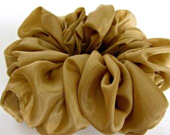 Silk Hair Scrunchie in Camel - #89