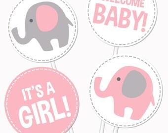 Elephant Baby Shower Centerpieces. Pink Table Centerpieces - Pink and Gray Neutral Baby Shower Circles - Elephant Centerpieces