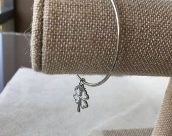 14k Silver Plated Charm Bangle