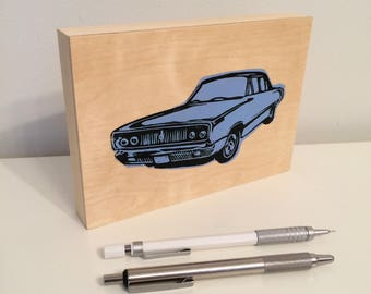Classic Car Block Print on Wood Panel - Blue