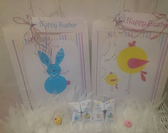 Easter Gift Bag Bunny or Chick with an Origami Fortune Teller Game