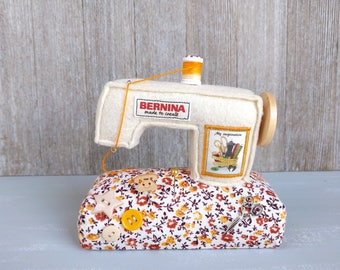 Bernina Sewing machine Pincushion Miniature Unique Handcraft Needle Keeper Decor Handmade Beige Floral Gift