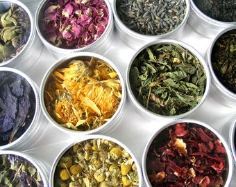 Green herbal tea kit. Set of 15. Custom tea blends for a tea lover. The Perfect tea gift