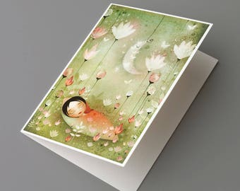 Greeting card with an illustration of a sleeping child