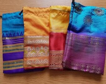 "Sari Bags. 4"" x 6 1/2"" drawstring."