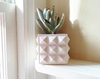 Geometric planter, hostess gift, succulent planter, desk planter, cactus pot, pyramid studded cube