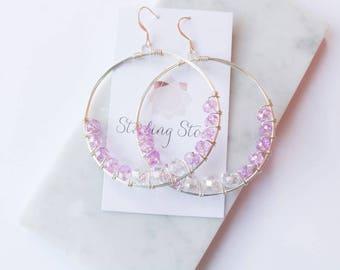 Cluster Crystal Earrings, crystal earrings, cluster hoop earrings, hoop earrings, drop earrings, dangle earrings, statement earrings, gift