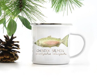 Fishing Camp Mug / Camp Mug / Trout Mug / Chinook Salmon Mug / Pacific Northwest Mug / Camping Mug / Fishing Gifts / Fish / Cast Iron Mug