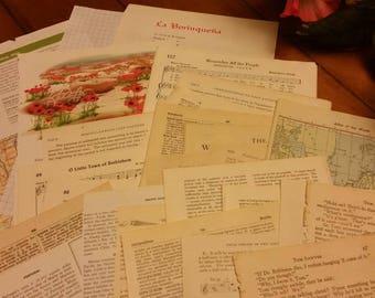 Vintage Ephemera 30+ pc*Vintage Paper Pack*Scrapbook Supply*Journal Ephemera*Junk Journal Paper*Paper Ephemera*Old Book Pages*