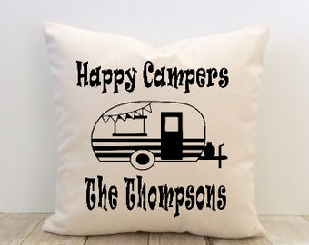 Happy Campers Pillow Cover, Personalized, Custom, Camping, Outdoors, RV, Camper, Trailer, Wilderness, Adventure, Happy Place, Nature, Woods