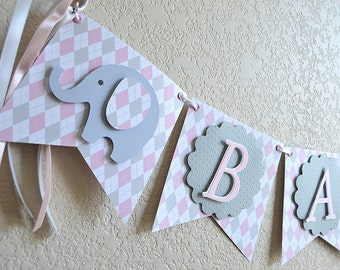Banner, Bunting, Baby Elephant Banner for A Baby Shower or Birthday, Argyle Pattern, Available in 3 colors, blue, pink, mint green