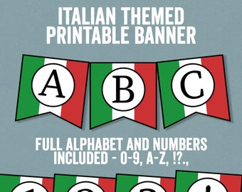 Italian Flag Bunting Printable, Any phrase, DIY Italy party banner, bunting diy alphabet, italy theme banner, diy italian party decor