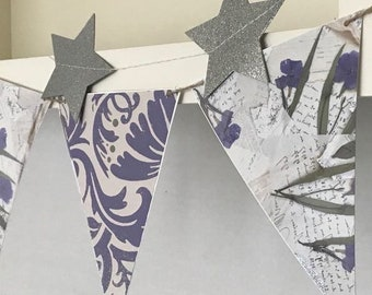 FLOWER PAPER GARLAND, Blue Floral Banner,Paper Bunting,  Antique Style Garland, Double-Sided Paper Bunting, Pressed Flower Style