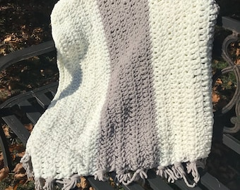 Gray & White Striped Cozy Throw