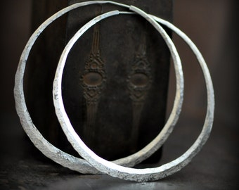3 inch sterling silver hoops, Large hoop earrings, crescent moon hoop in planishing smooth mirror finish or your choice