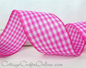 """Wired Ribbon, 2 1/2"""", Pink White Gingham Check Plaid - FIVE YARDS - Offray, #704187 Summer, Spring, Easter, Bright Pink Wire Edged Ribbon"""