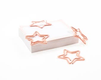 Set of 4 stars pink paperclip. Bookmark.